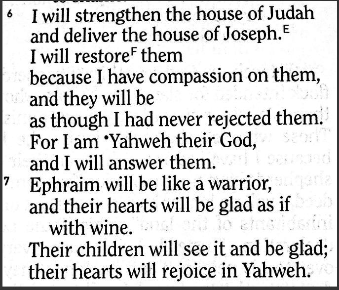 Zechariah 10:6-7 HCSB