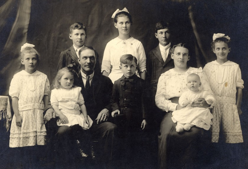 Joseph and Jenny Brown with  8 oldest children.